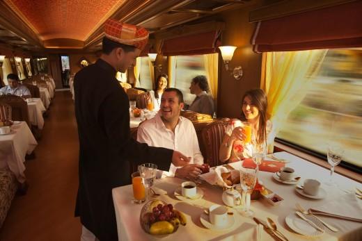 Guest Dining inside Rang Mahal Restaurant of Maharajas Express