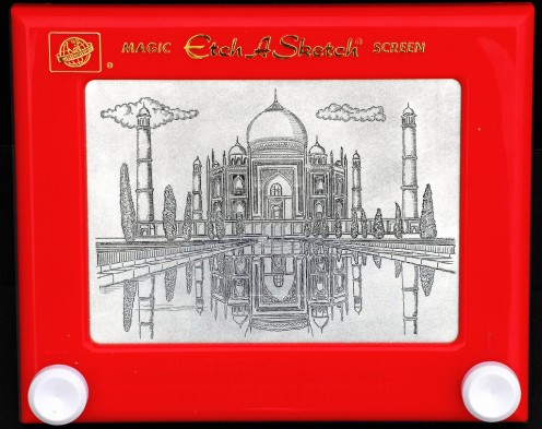 The Taj Mahal drawn on Etch-A-Sketch.