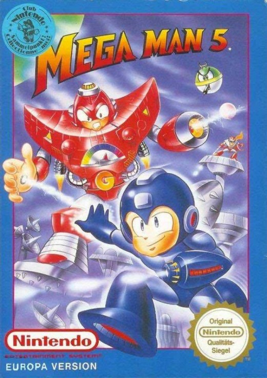 Box art for the PAL Region version of Mega Man 5 / Rock Man 5