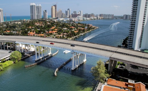 Miami Beach bridge.