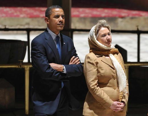 President Obama and Hillary Clinton outside of a Mosque - Mrs. Clinton who isn't Muslim is wearing a headscarf in support of Islam