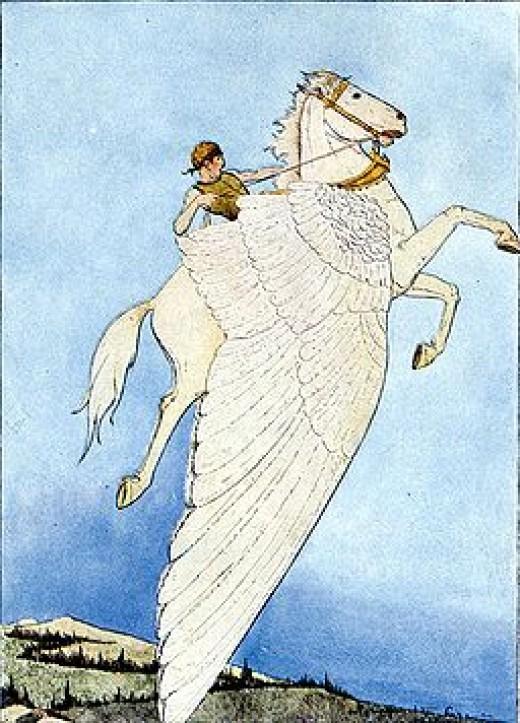 Pegusus ridden by Bellerophon