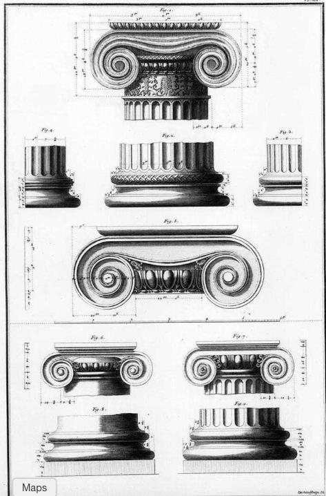 Illustration, Ionic Orders, Les Ruines des plus beaux monuments de la Grèce.Julien-David Le Roy