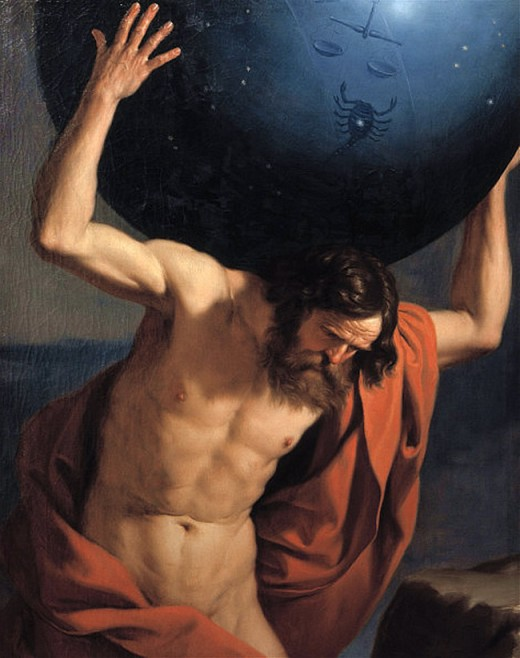 Atlas holding up the celestial globe By Guirrino Public Domain