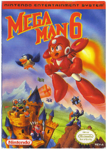 Box art for the US version of Mega Man 6 / Rock Man 6