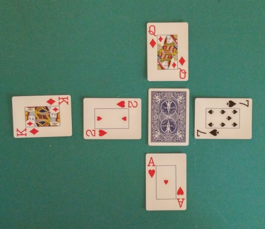 Top Center Card Turned To Play With Horizontal Row