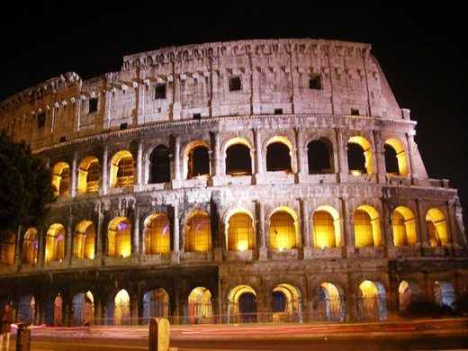 The famous Colosseum at night.