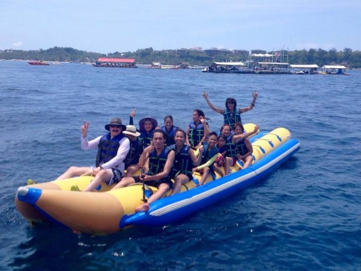 Enjoying the banana boat run at sea