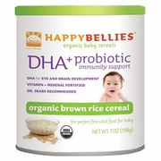 HappyBellies Organic Brown Rice Cereal, with Probiotics & DHA, 7 oz x 6 Cans, HappyBaby (Happy Baby)