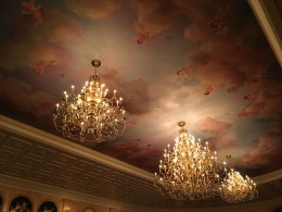 The ceiling inside the main dining area in the Be Our Guest Restaurant