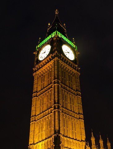 Poorly taken night picture of Big Ben, improved to its best in Photoshop