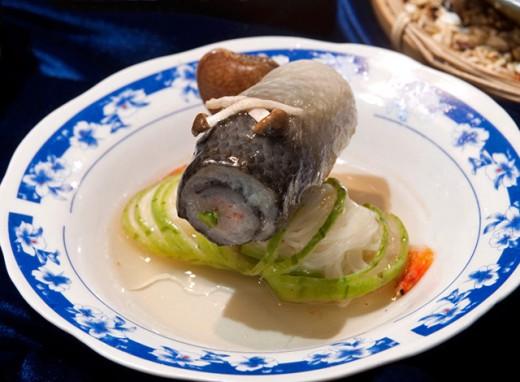 Steamed fish roll delight.
