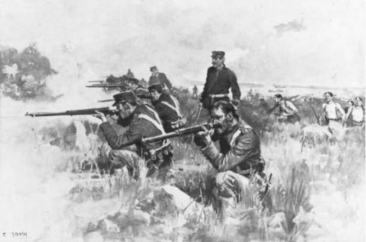 Following an amphibious landing, Marines engage Spanish forces near Guantanamo Bay in 1898.
