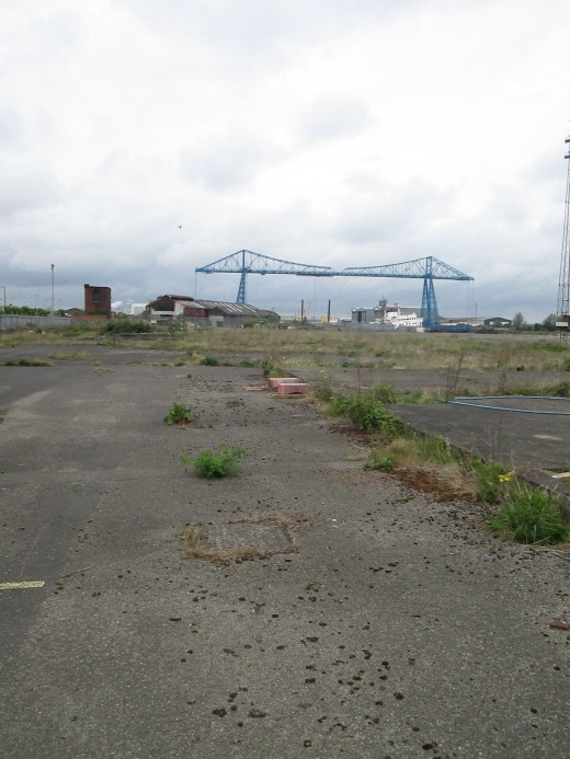 Much of the riverside on the south bank of the Tees is still 'in limbo' as you can see in this view towards the iconic Transporter Bridge