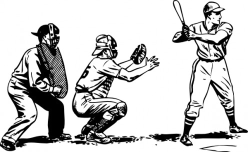 Vintage baseball scene
