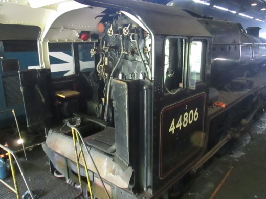 Around ten months later, May 2016, 'Black Five' (ex-LMS Class 5) 44806 is under inspection in the workshop