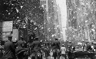 Two days after his Washington, D.C. reception, Charles Lindbergh was welcomed in New York with a ticker tape parade.