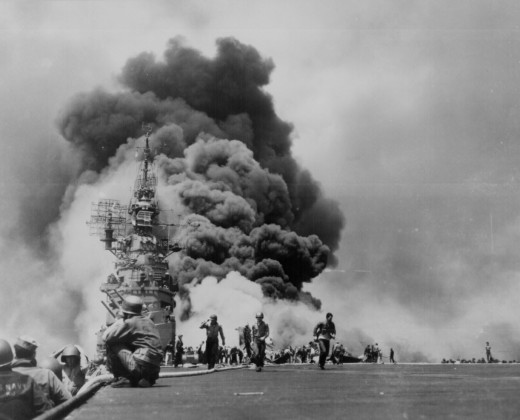 The USS Bunker Hill after being struck by two kamikazes.
