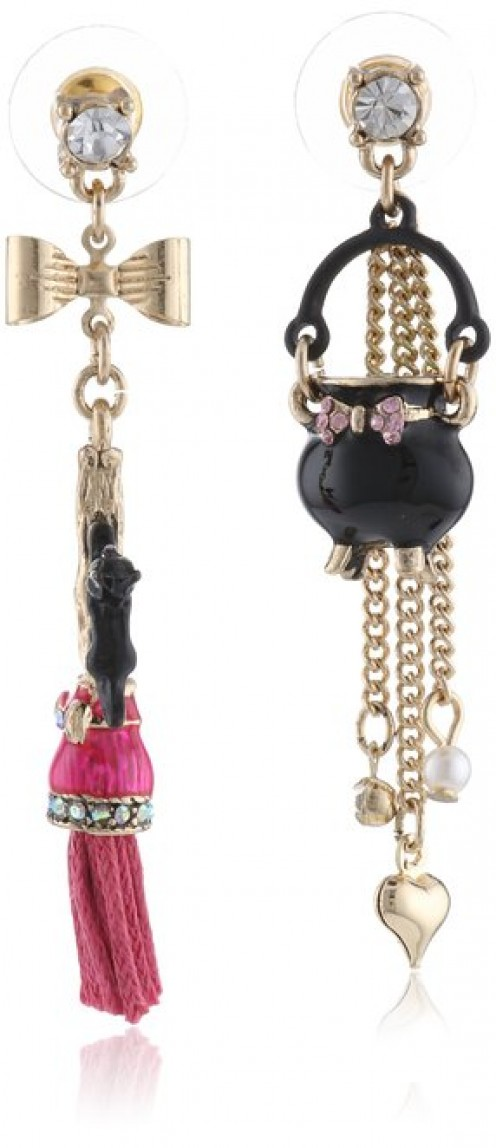 Add this pair of gorgeous and unique-looking cauldron and broom mismatched drop earrings to your Halloween witch outfit. You can see even more accessories for your costume below.