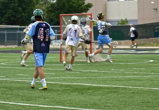 Highland Park Senior committed to Syracuse goes behind the back to score a goal in the Stick Star Texas All-Star game.
