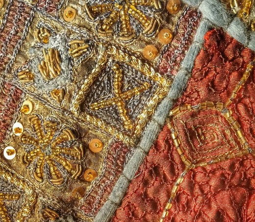 Textile beading for glamour texture.
