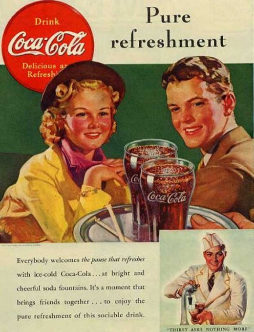 Coke knew how to use the right demographic in their ads such as these young people enjoying a Coca Cola