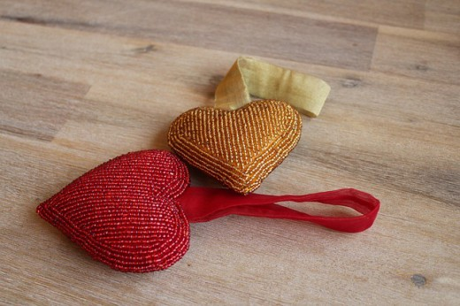 Give a seed beaded cushion heart to a loved one.