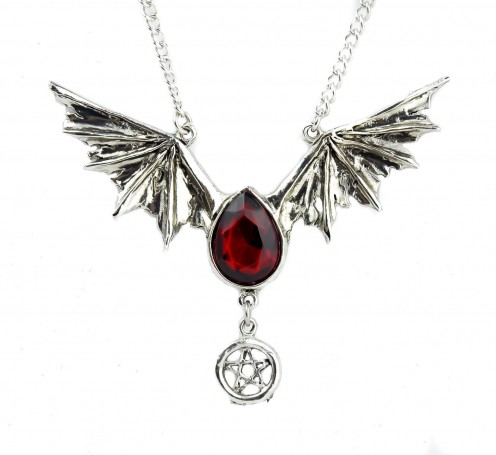 Wear jewelries, like this Blood Red Swarovski Stone Bat Wing Necklace Vampire Tear Drop Pendant, with a Halloween theme or design to complete your chosen Halloween costume. You can see more jewelries featured below