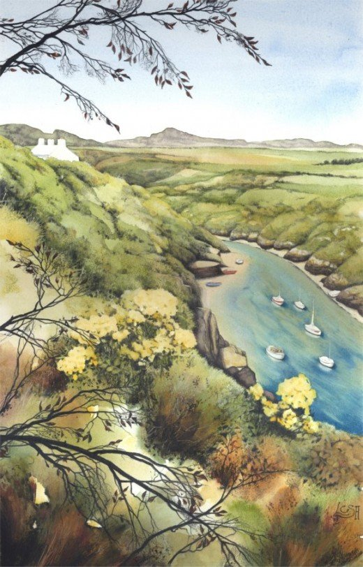 """Porthclais Harbour"" watercolour by Helen Lush"