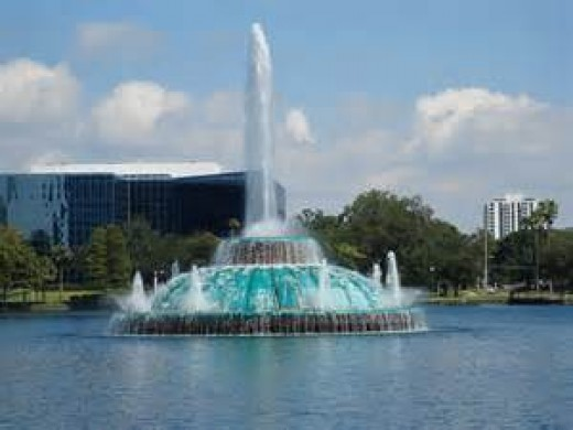 The Fountain at Lake Eola.  This is where we would take visiting family before Disney came to town.
