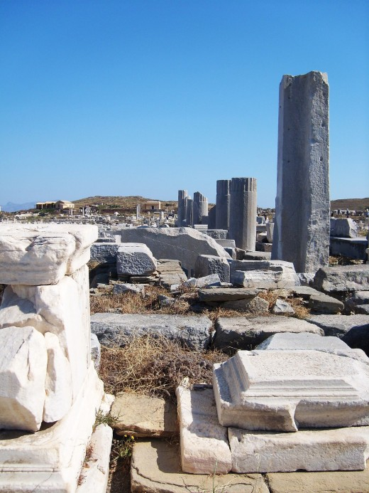 Ruins on Delos, birthplace of two Greek Gods.