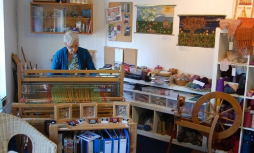 The gallery's resident weaver, Jane Nicholls in her studio upstairs.