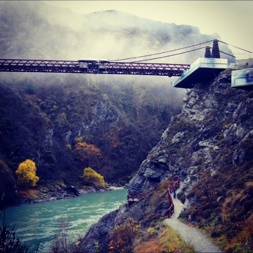 Bungy Jumping in the clouds off the Kawarau Bungry Bridge (South Island)