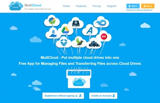 Multcloud's interface also offers the option of experiencing it before signing up