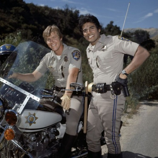 "(From left), Larry Wilcox, ""Jon Baker,"" and Erik Estrada, ""Ponch,"" the two main stars of CHiPs"