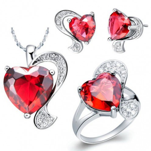 "Four Pieces ""Ruby Red Loving Heart"" Platinum-plated Fashion Jewelry Set with Imported Crystal Elements"