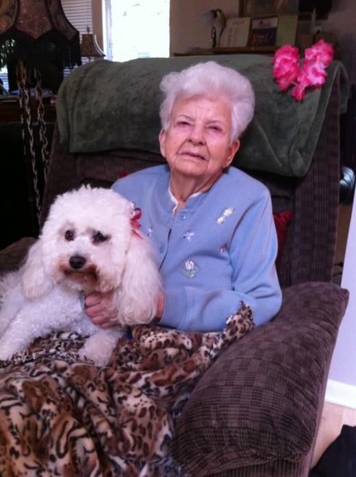 Mom enjoying a resident's dog.