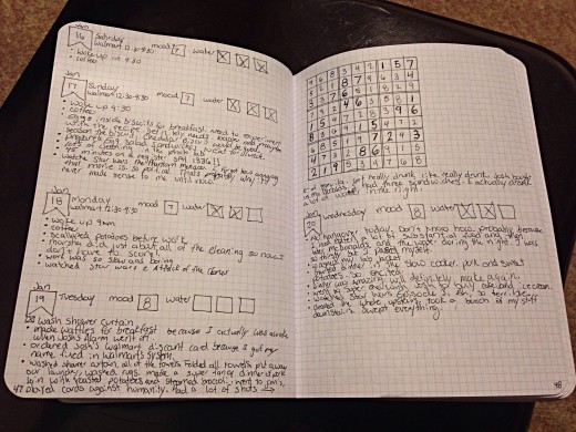 This is a page from my bullet journal. You can write as much or as little as you want. I also like to draw Sudoku puzzles in to work on when I'm bored.