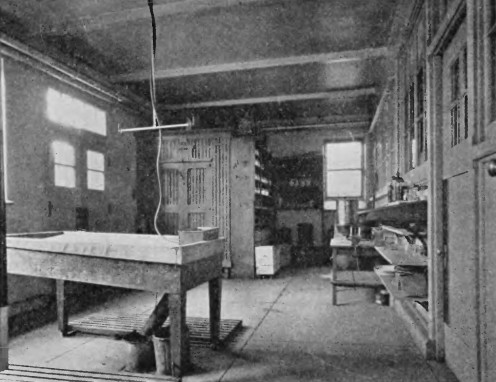 An autopsy room ('morgue') from late 1800's in Pennsylvania USA.