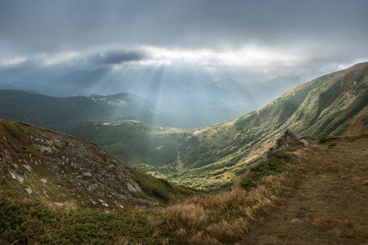 View of Carpathian National Park from Hoverla. Carpathian National Park, Ivano-Frankivsk Oblast, Ukraine
