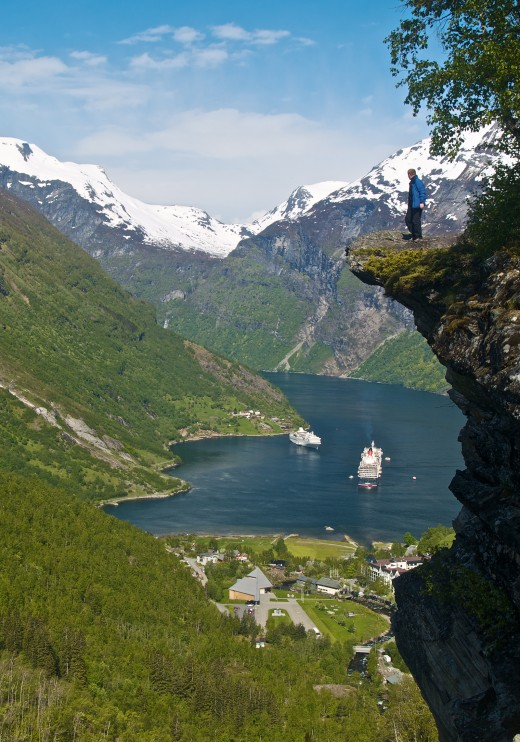 View on Geiranger in the Geirangerfjord, Norway.