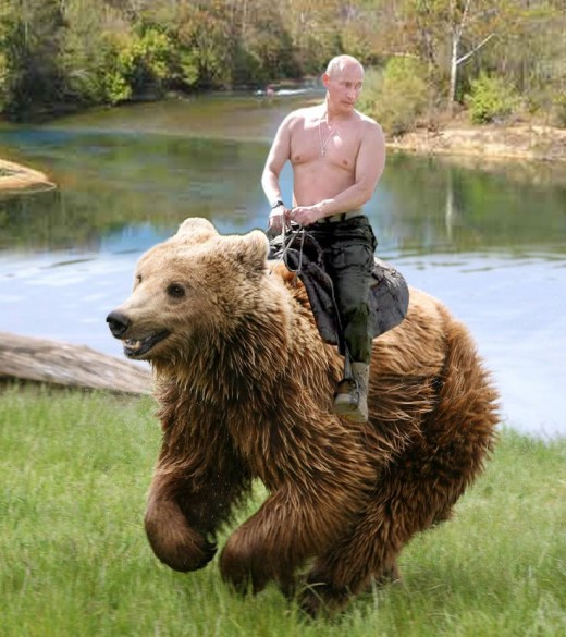 Here is the current strongman in charge of Russia, riding a bear, not the only picture of him riding a bear, but one of the best.