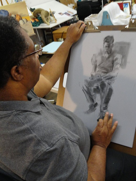 My friend, Dennis Lewis, drawing from a live model.