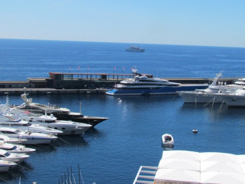 The beautiful port in Monte Carlo, around the corner form Hotel De Paris