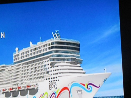 A quick photo from our bus of the beautiful Epic, Norwegian Cruise Line which we toured the Mediterranean on.