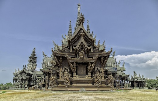 The sanctuary of truth in the Pattaya Made from all wooden, Thailand Travel Guide Tour