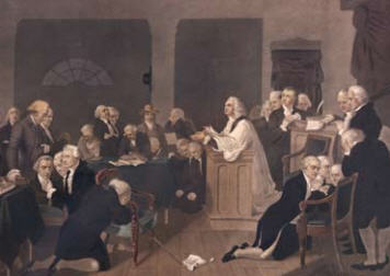 The Rev Jacob Duche offers the first prayer for the Continental Congress, September 7, 1774, in Philadelphia, PA