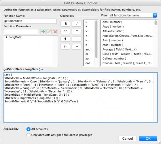 Custom Function Window