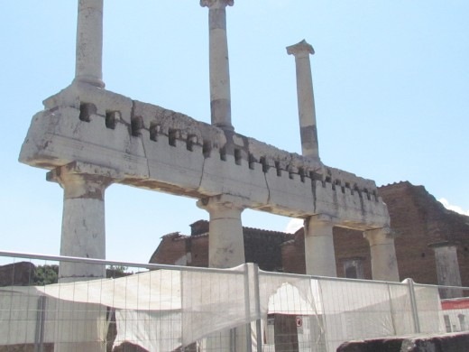 High columns still remain within the Pompeii ruins from the Roman era.