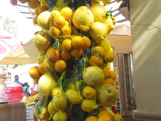 Fruits and vegetables were available for tourist with the city of Naples, Italy at various shops.